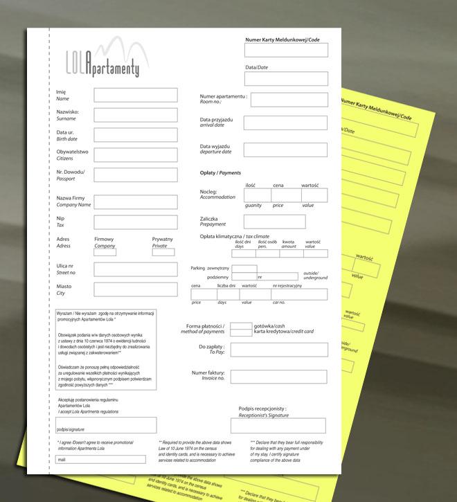 Karta meldunkowa na papierze samokopiującym